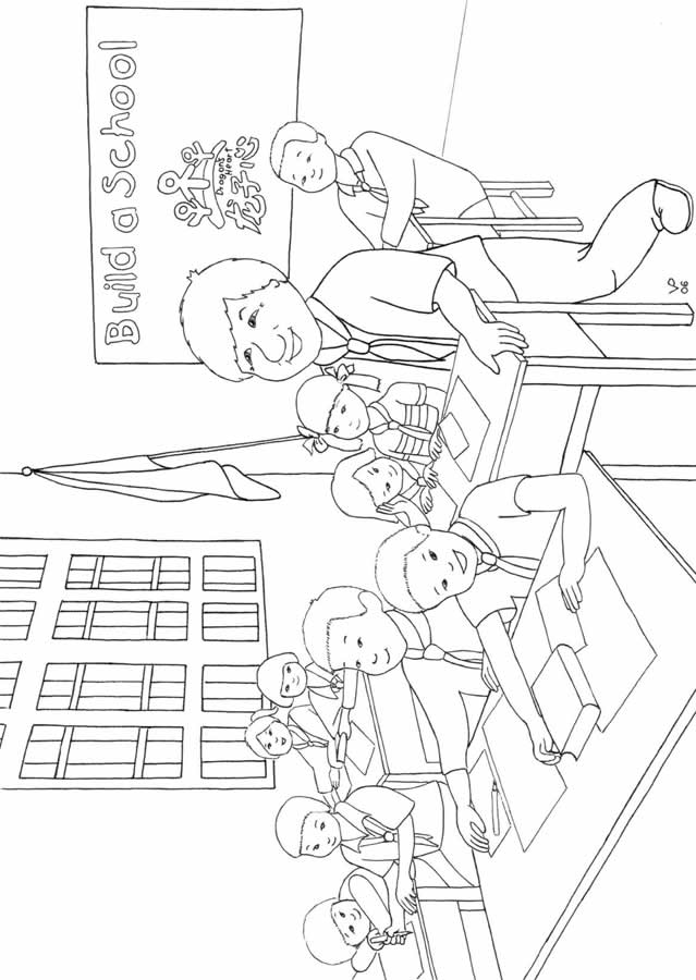 Classroom coloring sheet coloring pages for Classroom coloring page